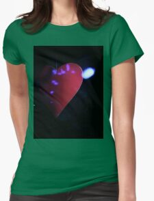 Saint Valentines day red love heart in darkness 35mm negative analog film photograph Womens Fitted T-Shirt