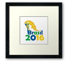 Brasil 2016 Summer Games Athlete Hand Torch Framed Print