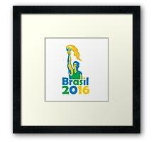 Brasil 2016 Summer Games Athlete Torch Framed Print
