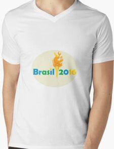 Brasil 2016 Summer Games Flaming Torch Mens V-Neck T-Shirt