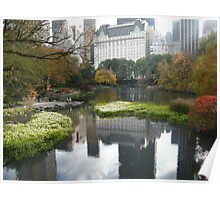 Plaza Hotel Reflecting in Central Park Lake, Fall Colors Poster