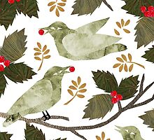Birds and Holly by Kendra Shedenhelm