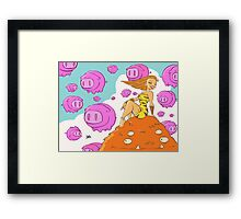 Pretty lady sitting on a monster surrounded by flying pigs... Framed Print