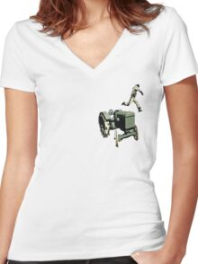 the 100 meter tractor jump edit Women's Fitted V-Neck T-Shirt