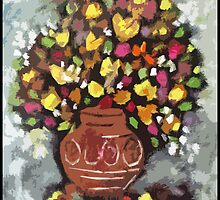 terracotta pot with flowers by catherine walker