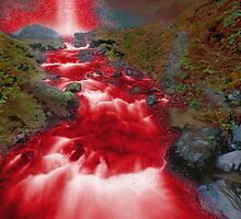Red Waterfall by lydiasart