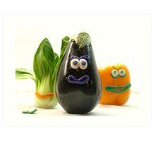 Quirky Vegetables Art Print