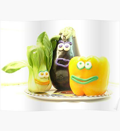 3 bright vegetables? Poster