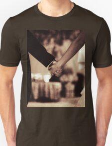 Bride and groom holding hands black and white film silver gelatin sepia fine art analog wedding photo Unisex T-Shirt