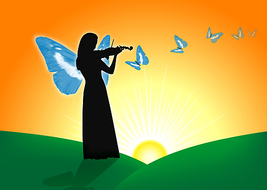 Violinist  & Butterflies by lydiasart