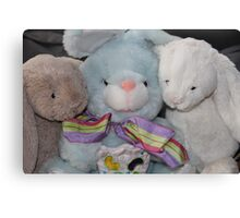 Three Easter Snuggly Bunnies Canvas Print