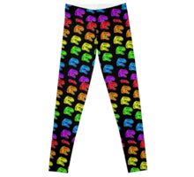 Rainbow T-Rex Pattern Black Leggings