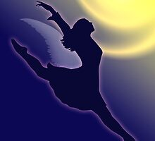 Flying Ballerina Silhouette by lydiasart