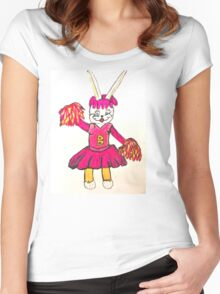 EASTER BUNNY CHEERLEADER Women's Fitted Scoop T-Shirt
