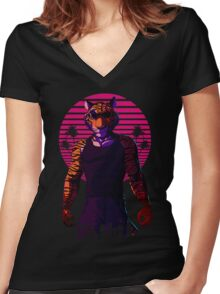 Midnight Animal - Tiger Women's Fitted V-Neck T-Shirt