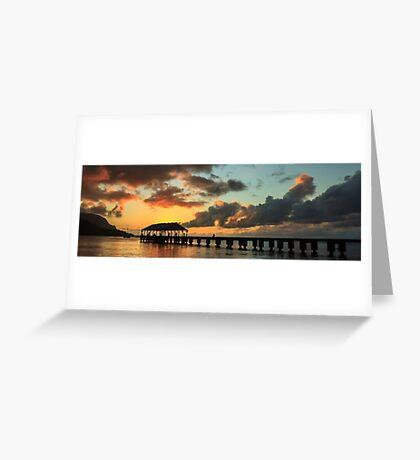 Hanalei Pier Sunset Panorama Greeting Card