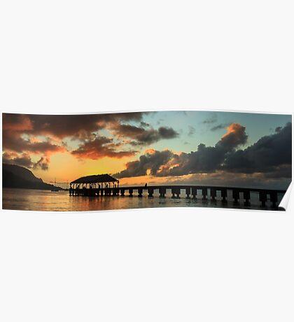 Hanalei Pier Sunset Panorama Poster