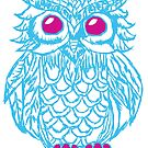 Blue owl drawing by huliodoyle