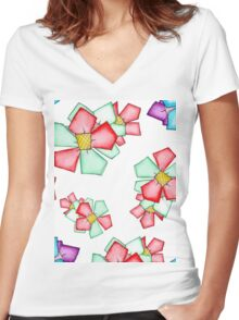 BLOOMIN' Women's Fitted V-Neck T-Shirt