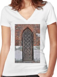 Gothic door. Women's Fitted V-Neck T-Shirt