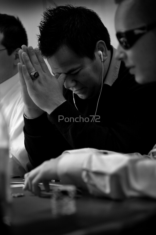 Poncho Thinking over Poker Hand by Poncho72