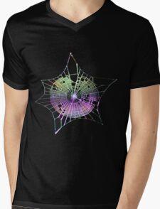 Rainbow Spider Web Mens V-Neck T-Shirt