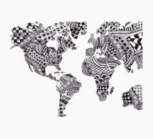 Zentangle World Map Kids Tee