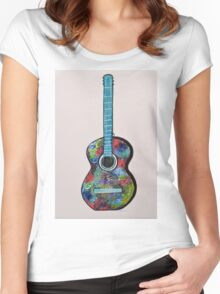 Colorful Abstract Guitar painting Modern wall decor Women's Fitted Scoop T-Shirt