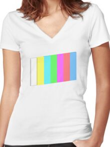 3-dimensional color bars vector image technology Women's Fitted V-Neck T-Shirt