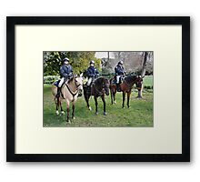 Three CHP officers and their three CHP riders Framed Print