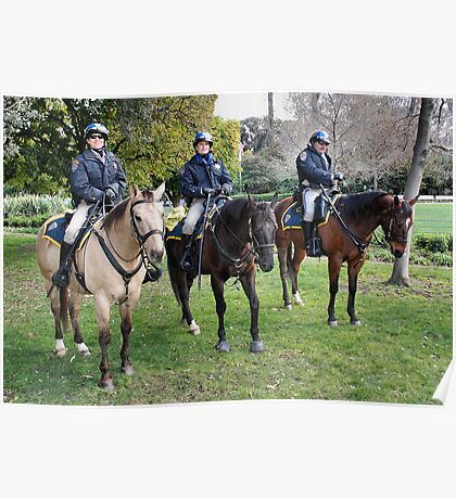 Three CHP officers and their three CHP riders Poster