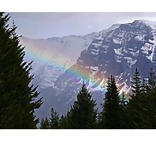 Rainbow Over the Mountain in Glacier National Park Photographic Print