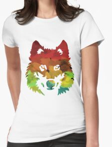 Colour Patch Wolf Womens Fitted T-Shirt