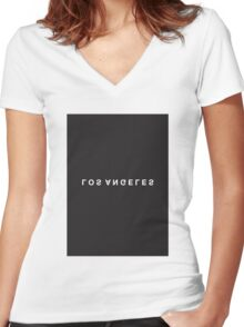 Los Angeles Minimalist Black and White - Trendy/Hipster Typography Women's Fitted V-Neck T-Shirt