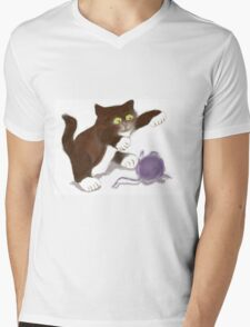 Kitten and the Purple Ball of Yarn Mens V-Neck T-Shirt