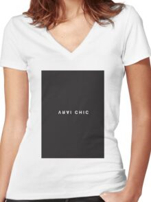 Vrai Chic Minimalist Black and White - Trendy/Hipster Typography Women's Fitted V-Neck T-Shirt