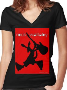 rock wallaby Women's Fitted V-Neck T-Shirt