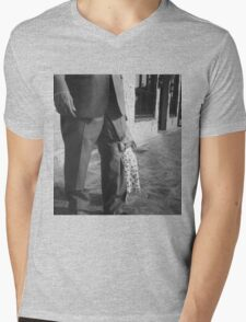 Portrait of girl hiding black and white film silver gelatin fine art analog wedding photo child portraiture Mens V-Neck T-Shirt