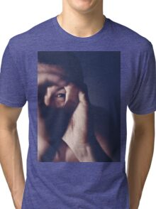 Self portrait photographer Edward Olive ra4 darkroom handmade print c41 color negative analog film photo Tri-blend T-Shirt