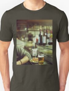 Man tapas and glass of beer in Spanish bar square Hasselblad medium format  c41 color film analogue photo T-Shirt
