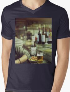 Man tapas and glass of beer in Spanish bar square Hasselblad medium format  c41 color film analogue photo Mens V-Neck T-Shirt