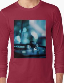 House music dj deejay turntable in nightclub party in Ibiza Spain blue digital photograph Long Sleeve T-Shirt