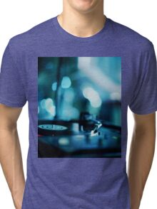 House music dj deejay turntable in nightclub party in Ibiza Spain blue digital photograph Tri-blend T-Shirt