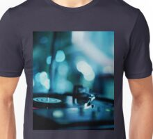 House music dj deejay turntable in nightclub party in Ibiza Spain blue digital photograph Unisex T-Shirt