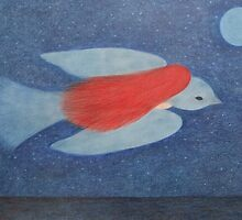 Bird and Girl with Moon and Stars: Spiritual Journey by Claudine Peronne