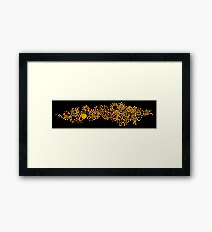 gold indian border Framed Print