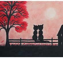 Romantic Cats on Fence with House and Red Tree by Claudine Peronne