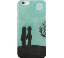 Soul Mates on Hill with Tree, Moon and Stars iPhone Case/Skin