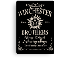 Winchester Since 1983 Brothers Saving People Hunting Things The Family Business - Funny Tshirts Canvas Print