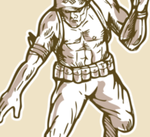 American Soldier Serviceman Armalite Rifle Cartoon Sticker